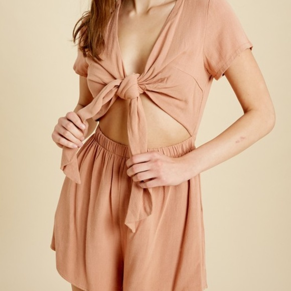 Pants - V-NECK TIE FRONT OPEN ROMPER